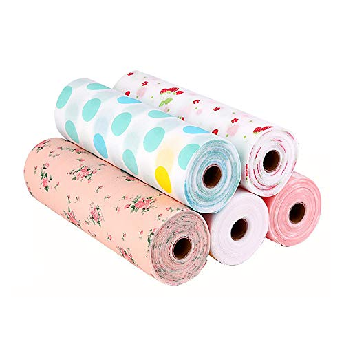 Küche Schrankpapier no-adhesive Schubladenmatte,Alternative schöne Punktmuster rutschfeste wasserdichte Küche Regal Futter Papierrolle für Schubladentisch Küchenschränke Speisekammer -5St