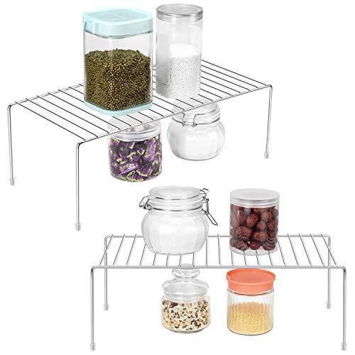 ROFAY Scaffale per ripiano armadio da cucina - Organizzatore per ripiani da ripiano da 2 pezzi per armadio da cucina, dispensa, ripiani, frigorifero, cibo e utensili - Cromato