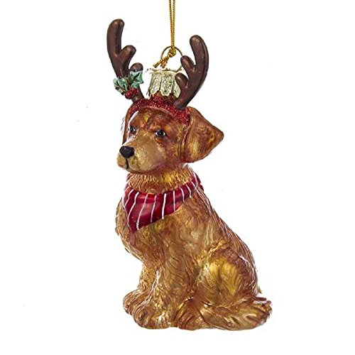 Noble Gems Golden Retriever with Antlers Glass Ornament