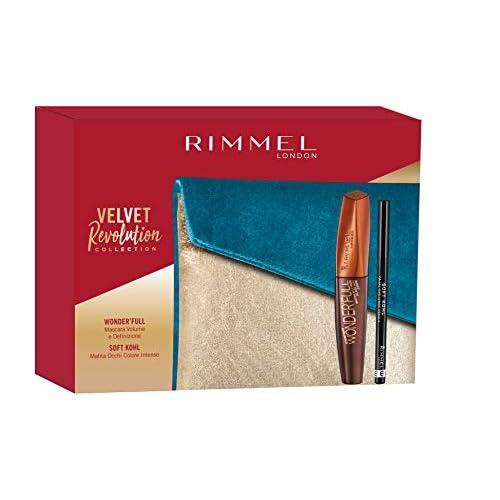 Rimmel London Confezione Regalo Velvet Revolution Collection, Pochette con Mascara Volume e Definizione WonderFull e Matita Occhi Soft Kohl