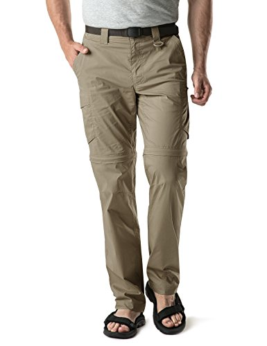 CQR Herren Convertible Cargo Pants, Wasserabweisend Wanderhosen, Zip Off Leichte Stretch UPF 50+ Arbeit Outdoor Hosen, Txp403 1pack - Tan, 34W x 34L