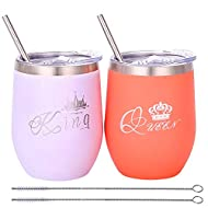 Fancyku- 2 Pack 12 oz King and Queen Couples Stainless Steel Wine Tumbler Double-Insulated Wine Cup with Lids and Straws for Drinks Wine Coffee Champagne