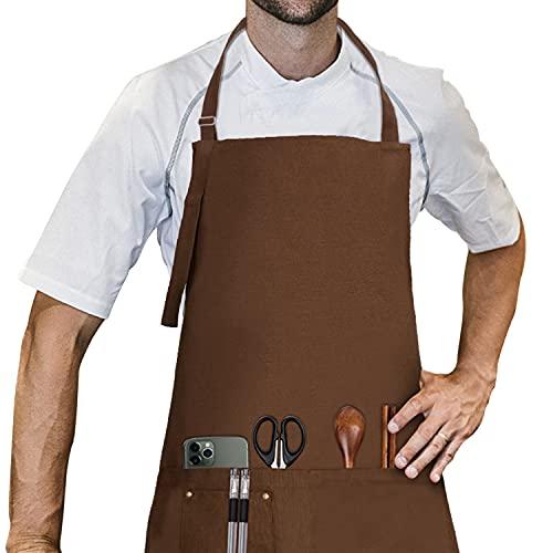 LessMo Delantal, 100% algodón de Cocina Delantal con Correa para el Cuello Ajustable, Barbacoa de Calidad Profesional Delantal, 70 x 85 cm, Azul Marino