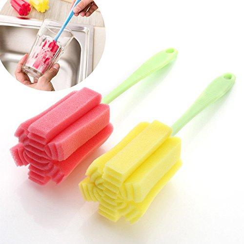 Colorful Flessenborstel, 1 stuks spoelspons met steel, voor flessen met wijde hals, melkfles, glazen flessen, aluminium flessen, voorraadpotten_willekeurige kleur