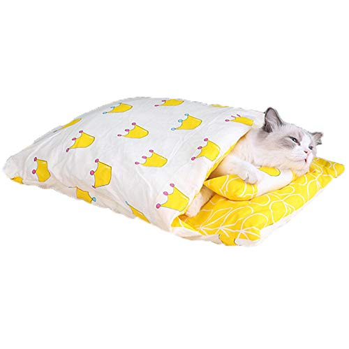 NULINULI Enclosed Cat Sleeping Bag, Pet Kennel Cat Quilt, Cat Bed All Seasons Are Removable And Washable L F