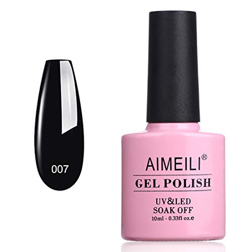 AIMEILI Smalto Semipermente per Unghie in Gel UV LED Smalti per Unghie Colori per Manicure Soak Off Nero - Blackpool (007) 10ml