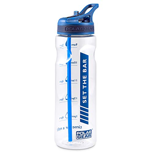 Polar Gear Water Tracker Bottle – Measure Hydration & Set Drinking Goals At Home Or On The Go – Leakproof, BPA Free & Dishwasher Safe – With Straw – For the Gym/Car & Outdoors – Navy Blue, 750ml