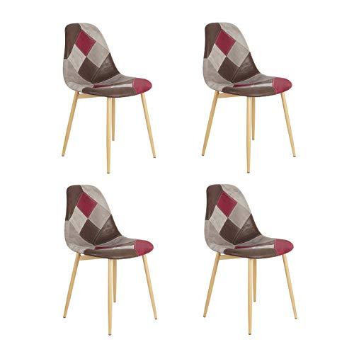 Un juego de 4 sillas de comedor de estilo moderno nórdico de lino y tejido de retazos con patas de madera de haya para comedor, salón, cafetería, salón y otras ocasiones (multicolor-burdeos)