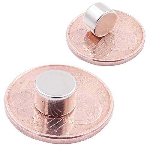 Brudazon | 10 Mini Scheiben-Magnete 8x5mm | N52 stärkste Stufe - Neodym-Magnete ultrastark | Power-Magnet für Modellbau, Foto, Whiteboard, Pinnwand, Kühlschrank, Basteln | Magnetscheibe extra stark