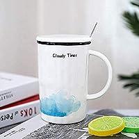 マグカップ 食器 贈り物 スプーンの手紙を有する蓋付き雨雲ティーコーヒーカップコップギフトオフィスカップ 雑貨