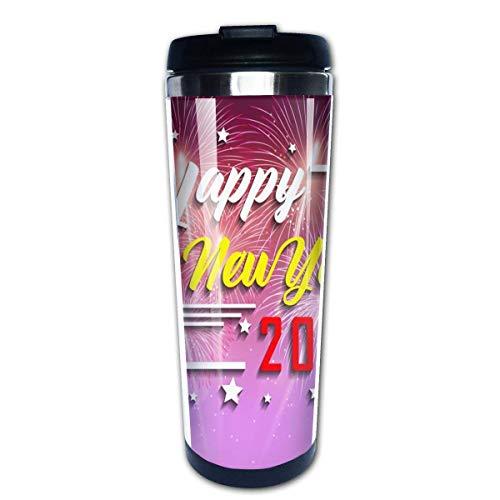 Taza de café de viaje Feliz año nuevo 2020 Taza de café con aislamiento de acero inoxidable Botella de agua deportiva 13.5 Oz (400 ml) MUG-4341