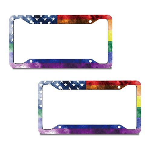 EXMENI 2 PCS American Flag Licenses Plate Frame Funny Rainbow Plate Frame Gay Pride Shining License Plate Cover Colorful Car Tag Frame USA Flag Design Car Accessories with 4 Holes and Screws