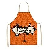 DerDer delantal de Halloween de lino de algodón impermeable delantal de chef vestido babero cocina extraña hornear hecho a mano jardinería barbacoa