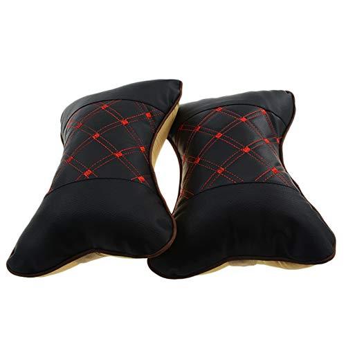 XIN CX 2 unids/Set Asiento de Cuero de Cuero Almohada Transpirable Cabeza de Cuello de Cuello de Seguridad Soporte de cojín de Apoyo Almohadilla Almohadilla (Color Name : Black+Red)