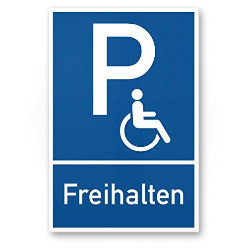 Parkplatz Behinderte, Behindertenparkplatz Kunststoff Schild (blau, 20 x 30cm), Hinweisschild/Parkplatzschild Reserviert - Rollstuhlfahrer, Parkplatz freihalten Körperbehinderte