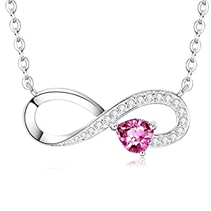 Pink Tourmaline Sterling Silver Infinity Necklace | Birthday Gifts for Her