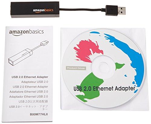 Amazon Basics Ethernet-LAN-Netzwerkadapter, USB 2.0, 10/100 Mbit/s