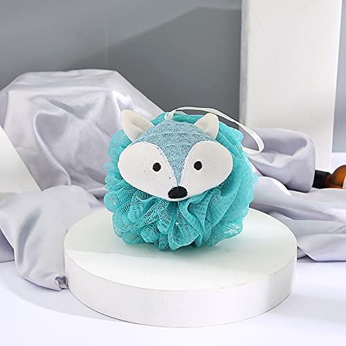 Eco Memos Esponja de luofah de ducha 2 en 1 para mujer – Lindo zorro exfoliante ducha luofah baño luofah para exfoliante coletero de baño (azul)
