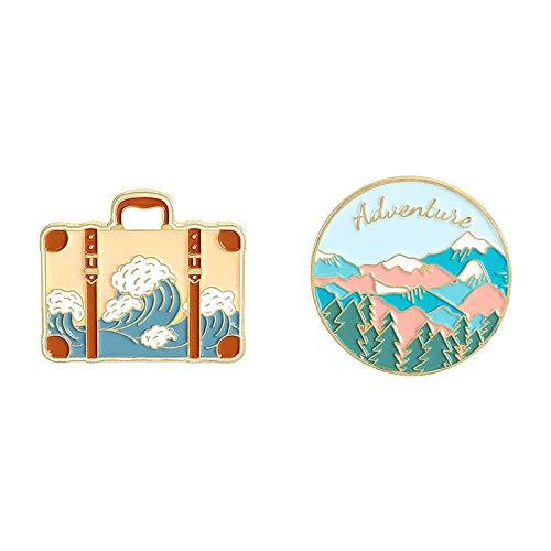 2 uds, Pintura de dibujos animados, maleta con olas oceánicas, alfileres de esmalte suave, insignias de solapa de moda, alfileres, broches, regalos de joyería para amigos