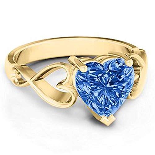 Dividiamonds Anillo de Compromiso para Mujer, Chapado en Oro Amarillo de 18 Quilates, con Zafiro Azul en Forma de corazón
