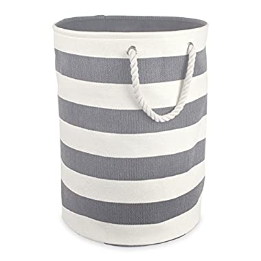 DII Woven Paper Basket or Bin, Collapsible & Convenient Home Organization Solution for Bedroom, Bathroom, Dorm or Laundry (Large Round - 15x20) - Gray Rugby Stripe