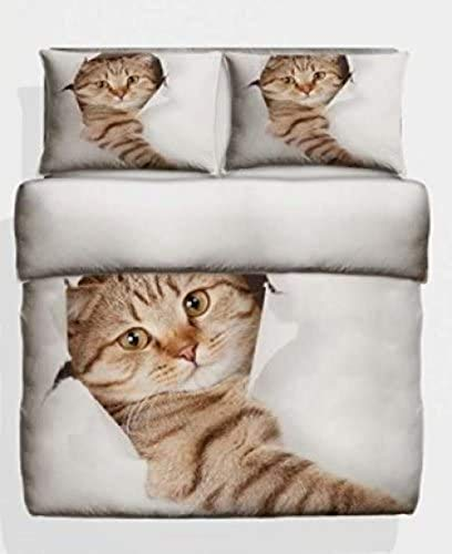 HUA JIE Home Décor 3D Double Size Photo Print Cute Cat Design Duvet cover Bedding Set Kitten