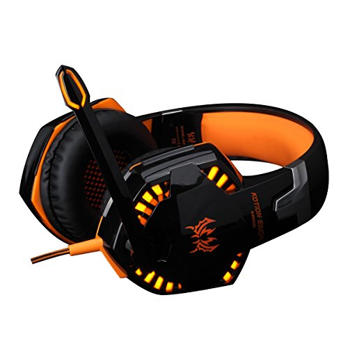 DGGR KOTION Each G2000 Over-Ear Gamer Gaming Headphone Headset Earphone Headband with Microphone Noise Canceling Stereo Bass LED Light for Computer PC Laptop 2 to 1 Adapter (Orange)