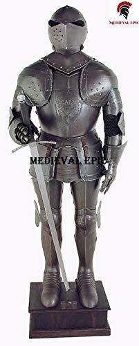 Disfraz de caballero medieval de alern negro de armadura para Halloween