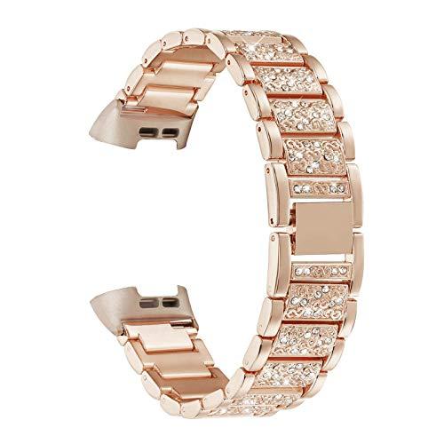 YOOSIDE Armband für Fitbit Charge 4/Charge 3,Edelstahl Metall Ersatzarmbänder Kristall Armbänder Fitness Zubehör für Fitbit Charge 3 / Charge 4,Rotgold