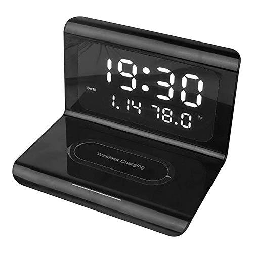Pilink Cargador inalámbrico con reloj despertador, estación de carga de teléfono inalámbrico Creatives con reloj despertador digital, cargador multifuncional para teléfono