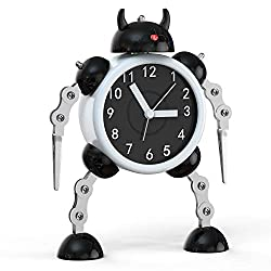 Robot Alarm, Analog Alarm Clock with Cool Design Analog Quartz Clocks for Bedrooms (Black)