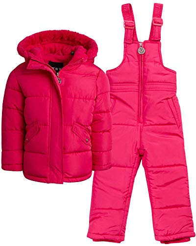 DKNY Baby Girls' 2-Piece Snowsuit with Heavy Puffer Jacket and Snow Bib Pants, Size Toddler (2T), Fuchsia'