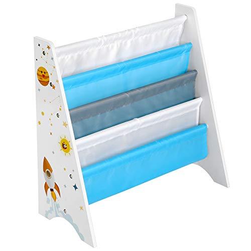 SONGMICS Estantería de Almacenamiento para niños con Kit antipuntas para habitación Infantil, Azul y Gris