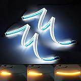 XINFOK - Striscia LED bianca ambrata, impermeabile, flessibile, luci diurne o di direzione, LED DRL ultra sottile