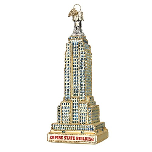 Old World Christmas Ornamentos soprados de vidro para cidades, lugares e pontos de referência para árvore de Natal Empire State