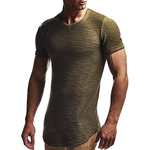 UROSA Fashion Men's Tops Round Neck Slim Solid Color Short-Sleeved T-Shirt 2019 Army Green