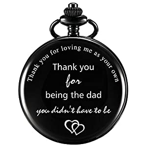 Dad Gift Pocket Watch for Father in Law, Stepdad Thank You for Loving Me As Your Own Quartz Pocket Watch for Father's Day Gift