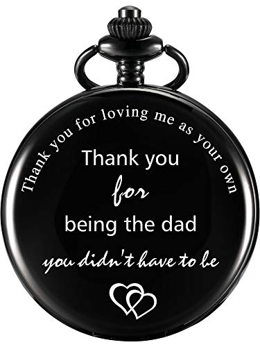 Dad Gift Pocket Watch for Father in Law, Stepdad Thank You for Loving Me As Your Own Quartz Pocket Watch for Father