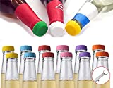 Beer Bottle Caps, 12 Pack Beer Caps Saver Silicone Rubber Bottle Caps, Soda Bottle Stopper Hat, Reusable Reseal, 6 Colors, Used for Beer, Soft Drink, Soda, Home Brewing, Bottle Mark, With Opener