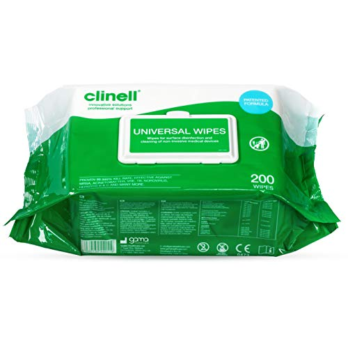 DISCONTINUED Clinell CW200 Universal Cleaning and Surface Disinfection Wipes - Multi Purpose Wipes, Kills 99.99% of Germs, Effective in 10 Seconds, Polypropolyene - Pack of 200 Wipes