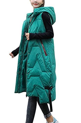 ORANDESIGNE Gilet Lungo in Piumino da Donna Giacca Panciotto Zip Up Tasche Senza Maniche Outwear Cappotto Zipper Gilet di Piuma Parka Maglia Autunno Invernale A Verde M