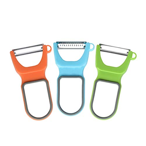 3 Piece Set Vegetable and fruit Peeler for Kitchen, Ceramic Ultra Sharp Stainless Steel Blades, Ergonomic Handles, Dishwasher Safe Cleaning
