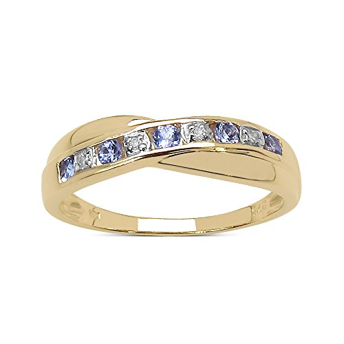 The Diamond Ring Collection: 9ct Gold 0.25ct Tanzanite & Diamond Channel Set Crossover Eternity Ring, Valentines Day (Size I)