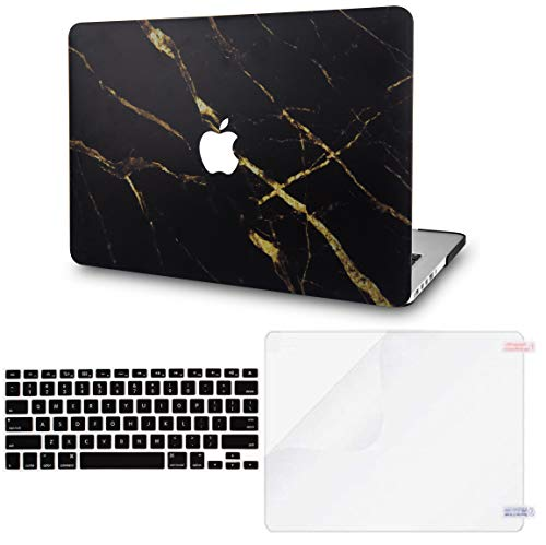 LuvCase 3 in 1 LaptopCase forMacBookPro 13' (2016-2020) w/wo Touch Bar A2159/A1989/A1706/A1708 HardShell Cover, Keyboard Cover & Screec Protector(Black Gold Marble)
