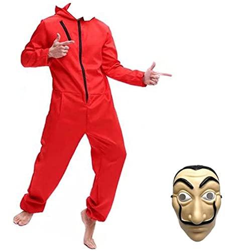 Yigoo Karneval Halloween Bankräuber Fasching Kostüm Overall mit Maske Cosplay für Herren, Damen Erwachsene Rot S