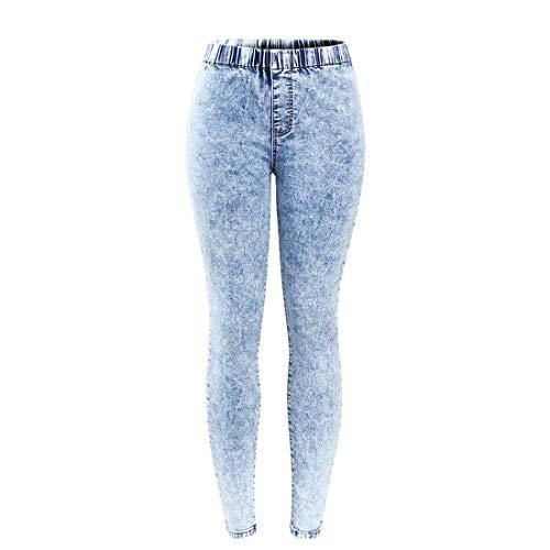 Plus Size Acid Washed Jeans Woman Denim Pants Trousers for Women Pencil Jeans,Snow Wash,M
