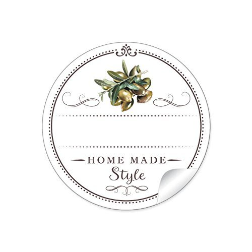 24 STICKER: 24 Schöne Etiketten für die Küche in Weiß mit Oliven'Home Made Style' mit Freitextfeld für eingelegte Oliven • 4 cm, rund, matt für eingelegte Oliven, Olivenöl in Glasflaschen