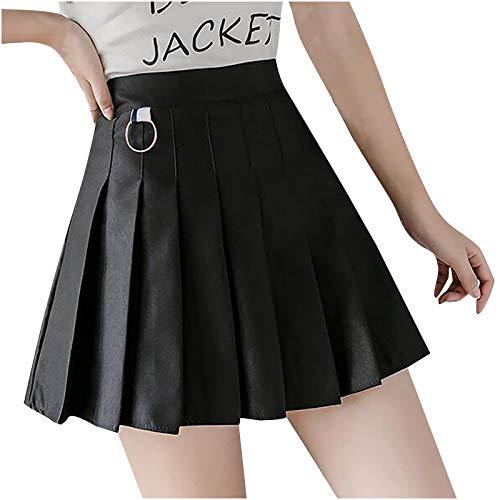 Vestido de verano para mujer, de color sólido con una línea de cintura alta culottes falda corta plisada para vacaciones