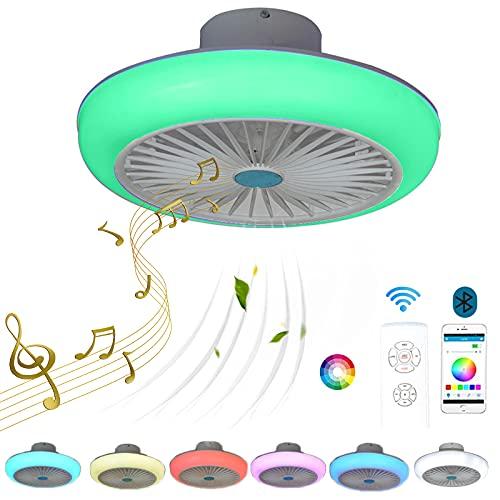 VOMI LED Ventilador de Techo con Lámpara y Bluetooth Altavoz Regulable Luz del Ventilador RGB Cambios de Color Mando a Distancia Silencioso Ventilador para Cuarto de los Niños Salón, 72W