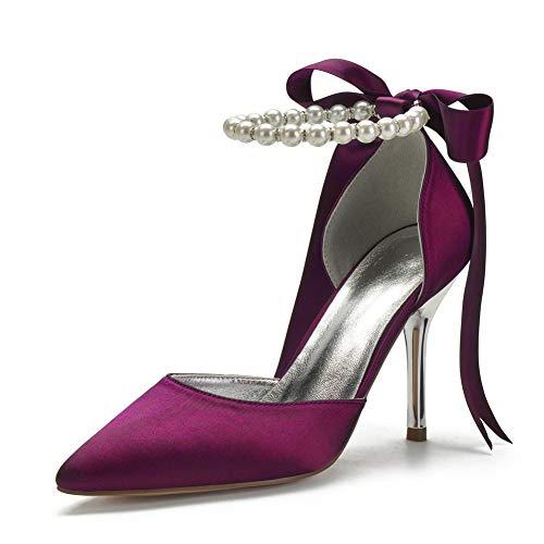 LGYKUMEG Zapatos de novia zapatos de boda cómodos, tacones altos para mujer, perlas de satén, sandalias de novia, correas de tobillo, vestido de fiesta de graduación,Púrpura,41 EU/10 US/8 UK
